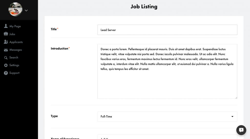 job listing - title, intro, type