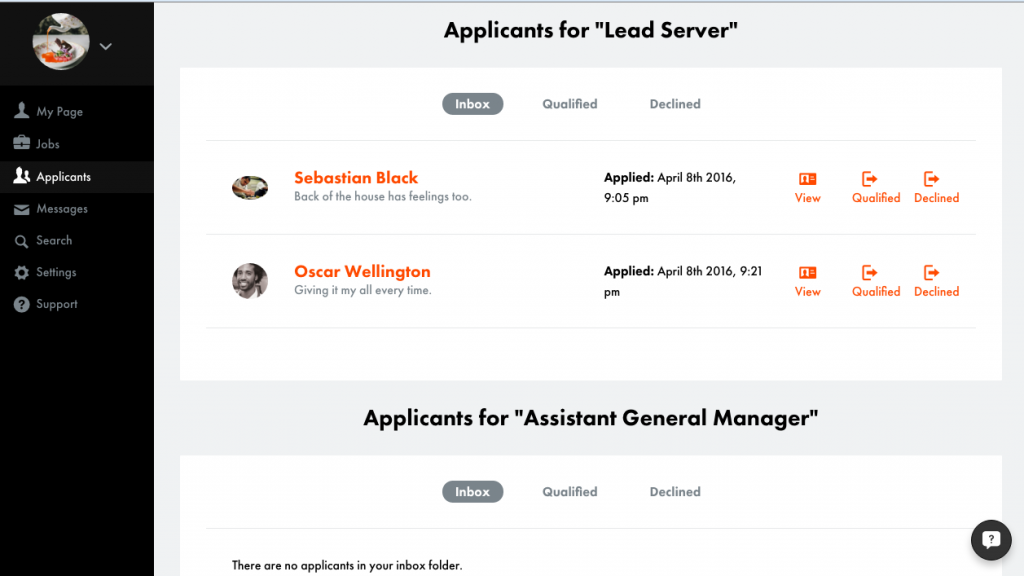 applicants page