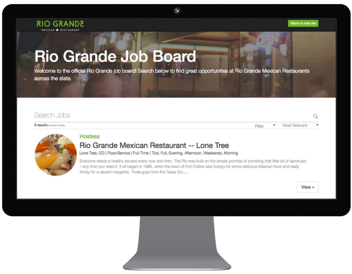 custom career page restaurant hospitality and retail